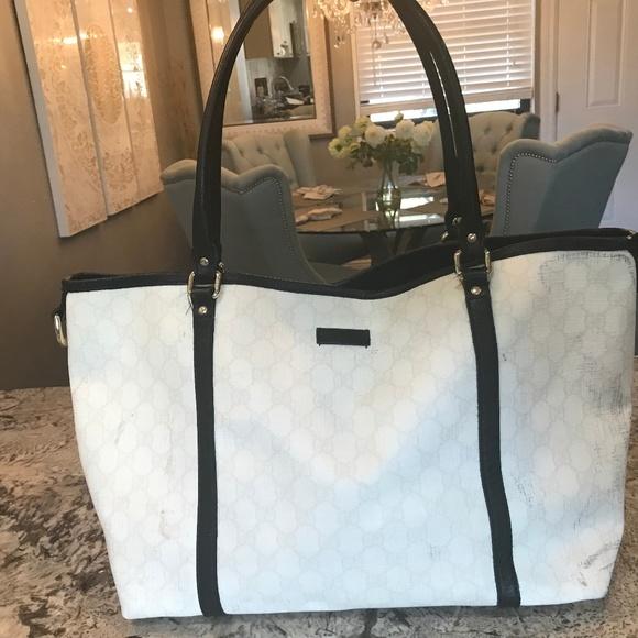 e80bd8b511 Gucci Bags | Gg Black And White Joy Tote | Poshmark